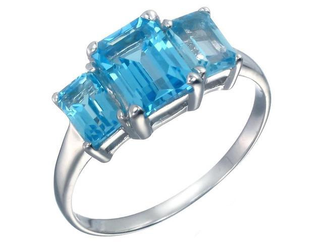 Sterling Silver 3 Stone Swiss Blue Topaz Ring (3 CT) In Size 7