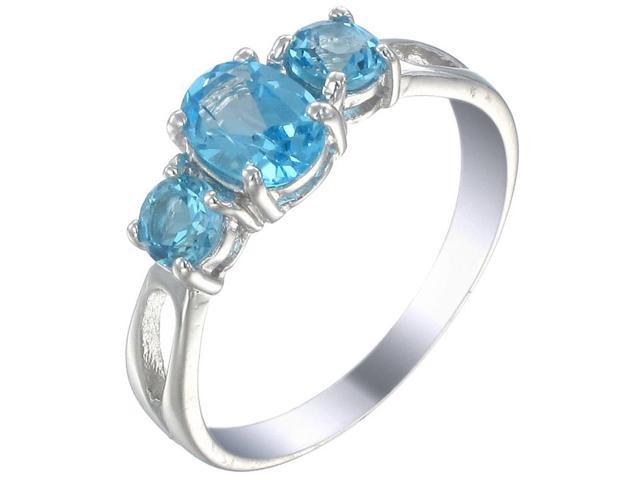 Sterling Silver 3 Stone Swiss Blue Topaz Ring (1.20 CT) In Size 9
