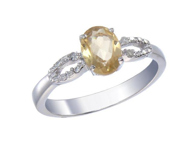 Sterling Silver Citrine & Diamond Ring (1.20 CT) In Size 7