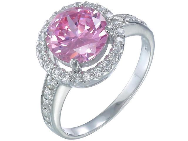 Sterling Silver Pink and White CZ Ring In Size 9