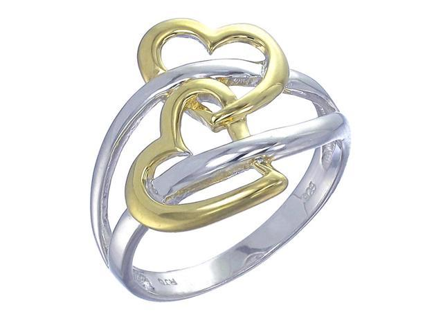 Yellow Gold Plated Sterling Silver Heart Ring In Size 7