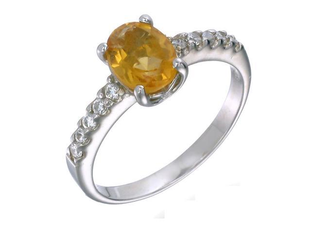 Sterling Silver Citrine Ring (0.90 CT) In Size 9
