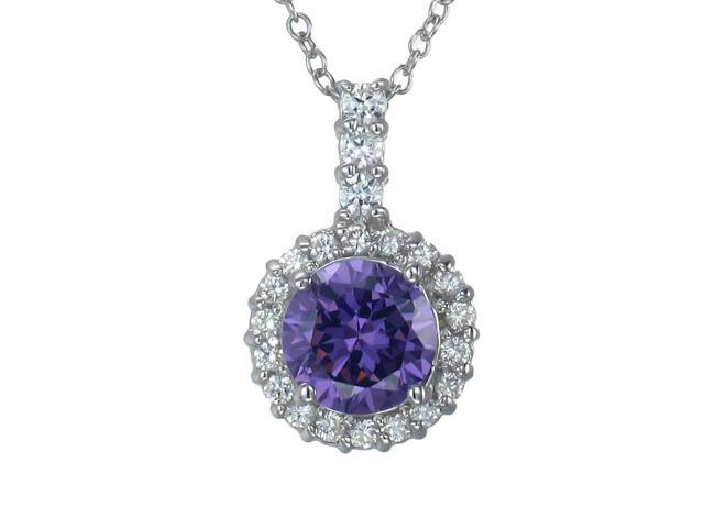 Sterling Silver Purple CZ Pendant With 18 Inch Chain (7 MM)