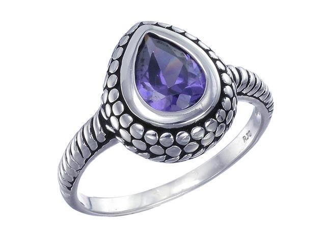 Sterling Silver Purple Ring Antique Look (6x8 MM) In Size 9