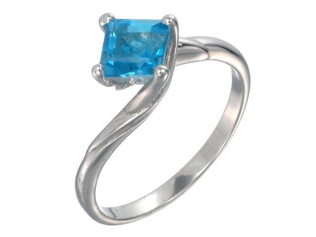 Sterling Silver Blue Topaz Ring (1 CT) In Size 9