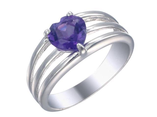 Sterling Silver Amethyst Heart Ring (1 CT) In Size 7