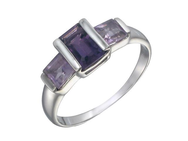 Sterling Silver Amethyst 3 Stone Ring (2 CT) In Size 8