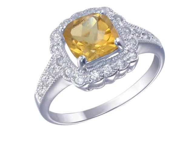 Sterling Silver Citrine Ring (1.10 CT) In Size 7