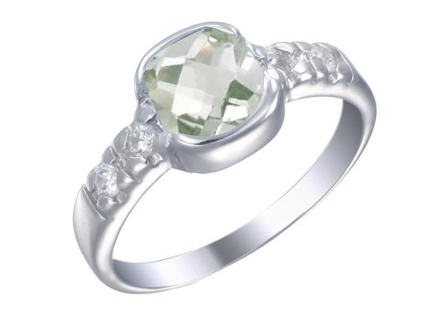 Sterling Silver Green Amethyst Ring (1.90 CT) In Size 9