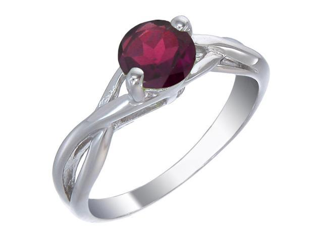 Sterling Silver Garnet Ring (3/4 CT) In Size 7