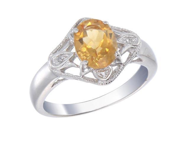 Sterling Silver Citrine & Diamond Ring (1.73 CT) In Size 9