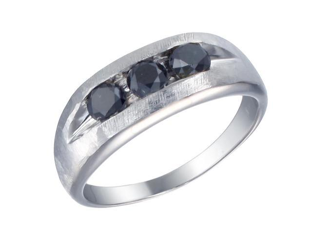 Silver Men's Black Diamond Engagement Ring 1.30 CT Size 12