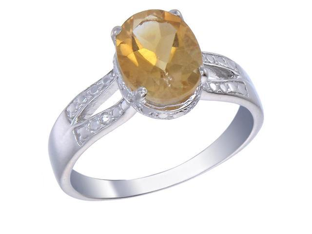 Sterling Silver Citrine Ring (2 CT) In Size 8