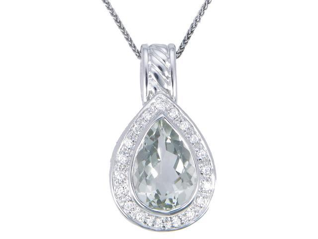 Sterling Silver Green Amethyst Pendant (3.50 CT) With 18 Inch Chain