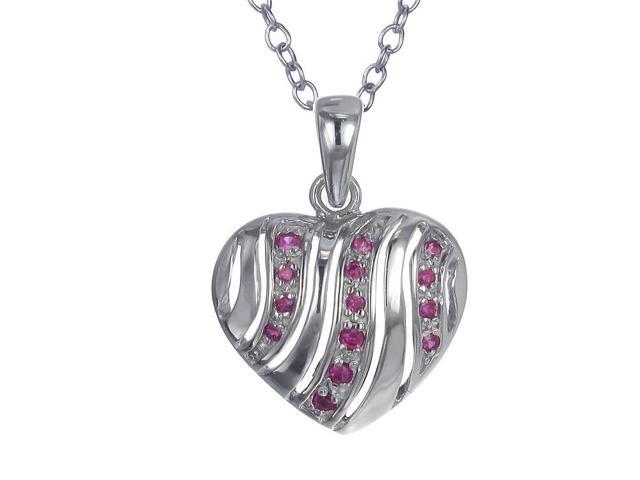 Sterling Silver Red CZ Heart Pendant With 18 Inch Chain