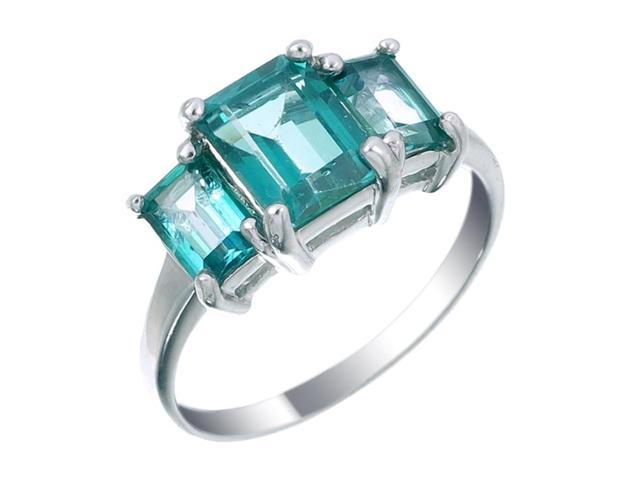 Sterling Silver Green Topaz 3 Stone Ring (3 CT) In Size 7