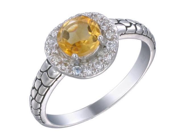Sterling Silver Citrine Ring In Size 9