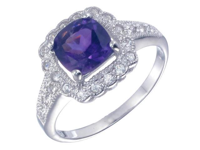 Sterling Silver Amethyst Ring (1.10 CT) In Size 7