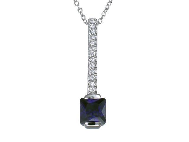 Sterling Silver Purple CZ Stick Pendant With 18 Inch Chain