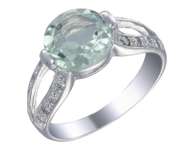 Sterling Silver Green Amethyst Ring (2 CT) In Size 9