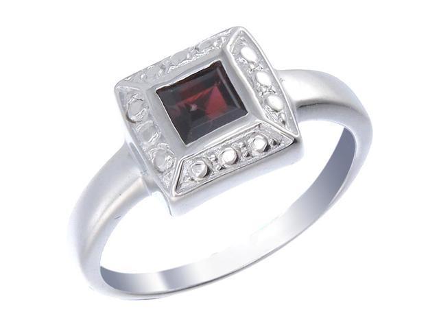 Sterling Silver Garnet Ring In Size 9
