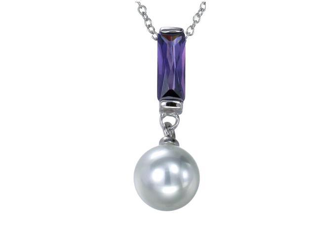 Sterling Silver Pendant (10 MM Glass Pearl) With 18 Inch Chain