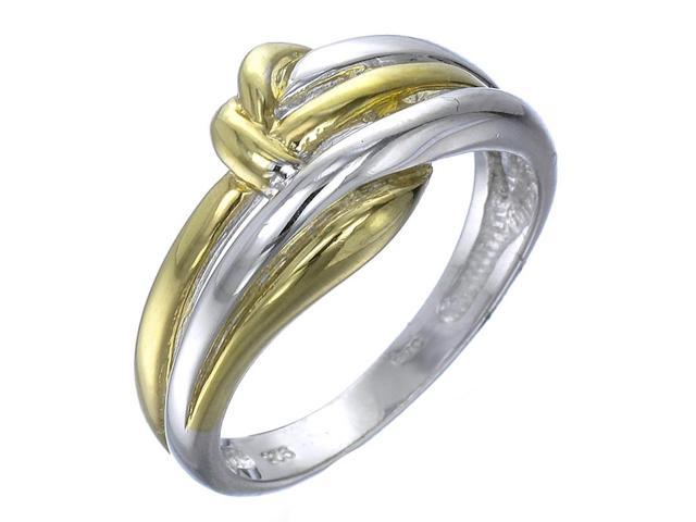 Yellow Gold Plated Sterling Silver Knot Ring In Size 6
