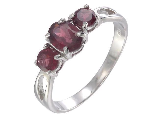 Sterling Silver Garnet 3 Stone Ring (1.20 CT) In Size 5