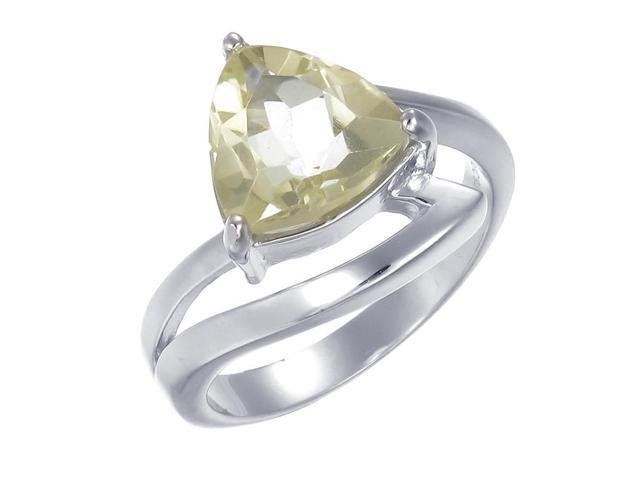 Sterling Silver Lemon Quartz Ring (2.20 CT) In Size 9