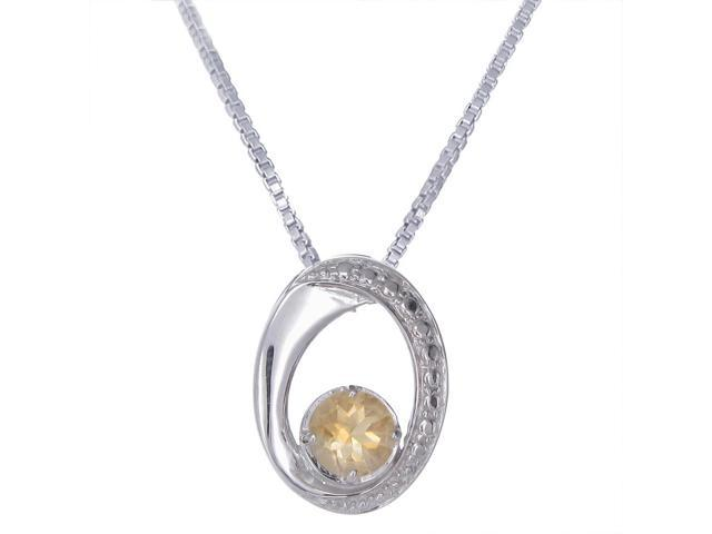 FineDiamonds9 P2719C 7mm 1.30 CT Oval Shape Citrine Pendant in Sterling Silver with 18