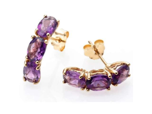 Yellow Gold Plated Silver 3 Stone Amethyst Earrings (3.35 CT)
