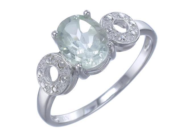 Sterling Silver Green Amethyst Ring (1.70 CT) In Size 6