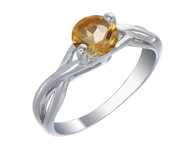 Sterling Silver Citrine Ring (3/4 CT) In Size 9