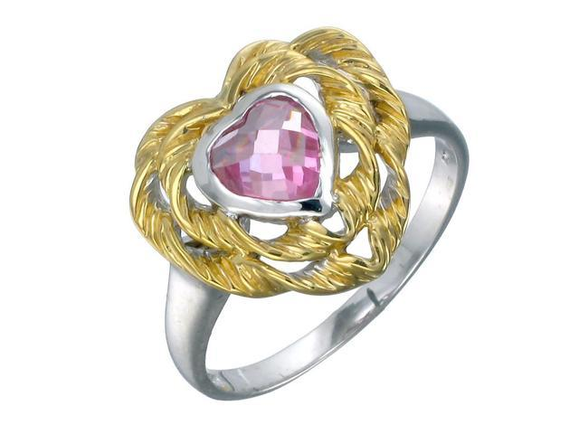 Yellow Gold Plated Sterling Silver Pink Heart Ring (6 MM) In Size 8