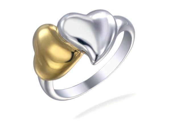 Yellow Gold Plated Sterling Silver Heart Ring In Size 8