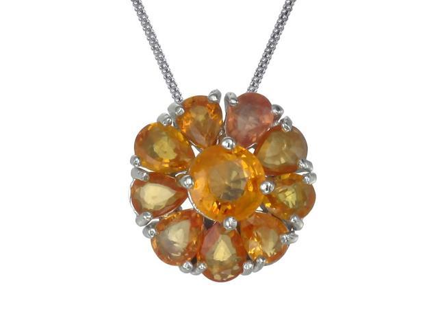 Sterling Silver Orange Sapphire Pendant (1.85 CT) With 18 Inch Chain