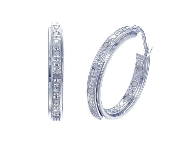 Sterling Silver Diamond Hoop Earrings (1/5 CT)