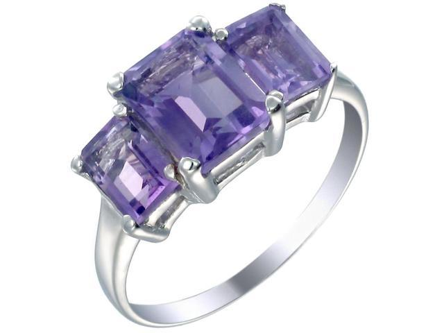 Sterling Silver Amethyst 3 Stone Ring (3 CT) In Size 7