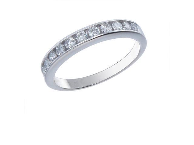 14K White Gold Diamond Wedding Band (1/2 CT ; Round Cut) In Size 6