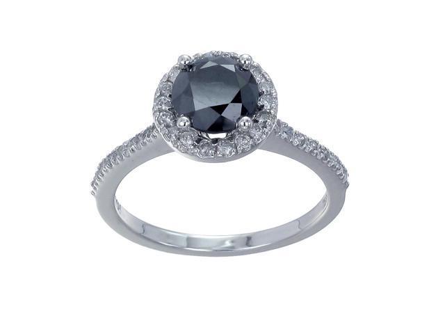 10K White Gold Black diamond Engagement Ring (1.50 CT) In Size 6