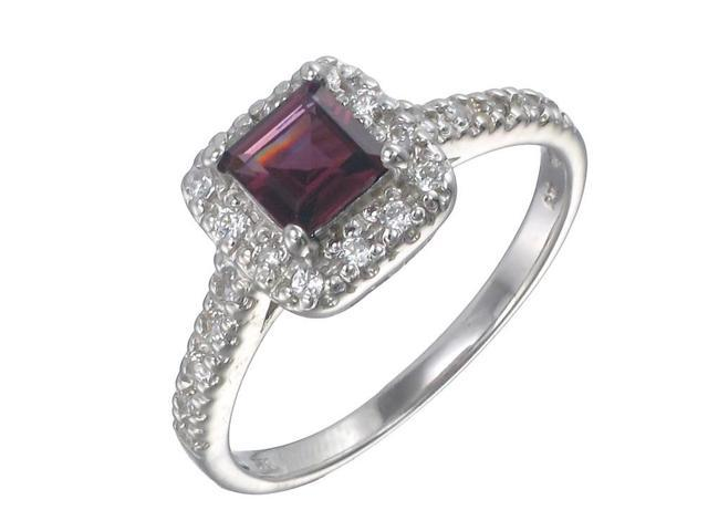 Sterling Silver Garnet Ring (0.35 CT) In Size 9
