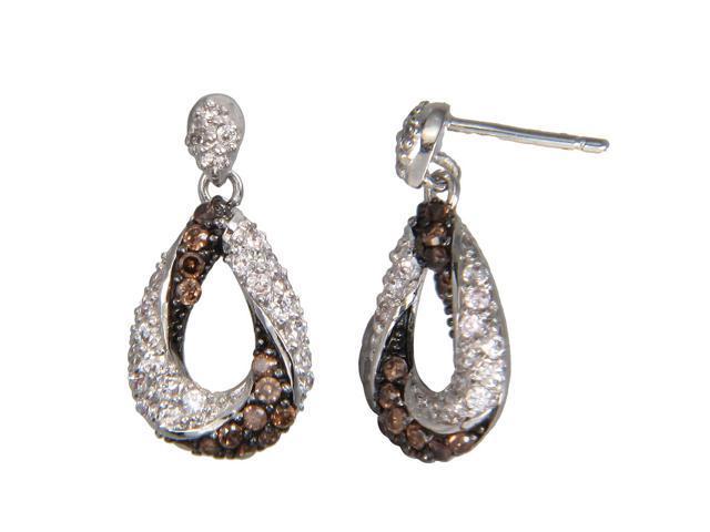 Sterling Silver Champagne Diamond Hoop Earrings (0.90 CT)