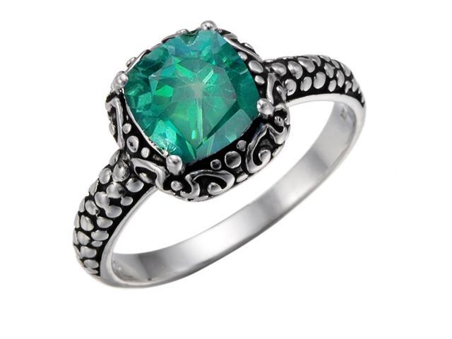 Sterling Silver Green Topaz Ring (1.50 CT) In Size 7