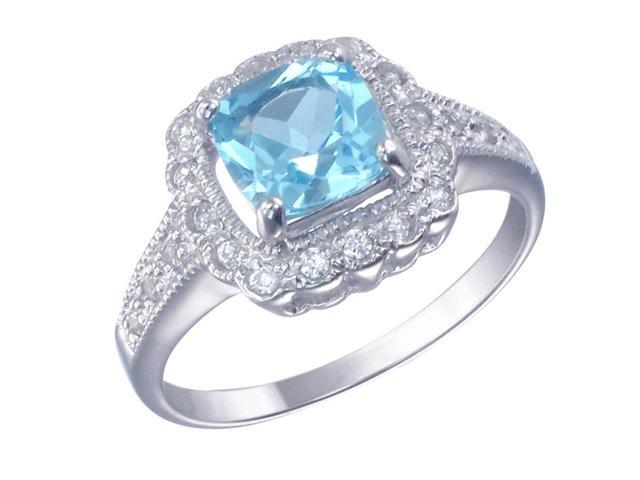 Sterling Silver Blue Topaz Ring (1.40 CT) In Size 7