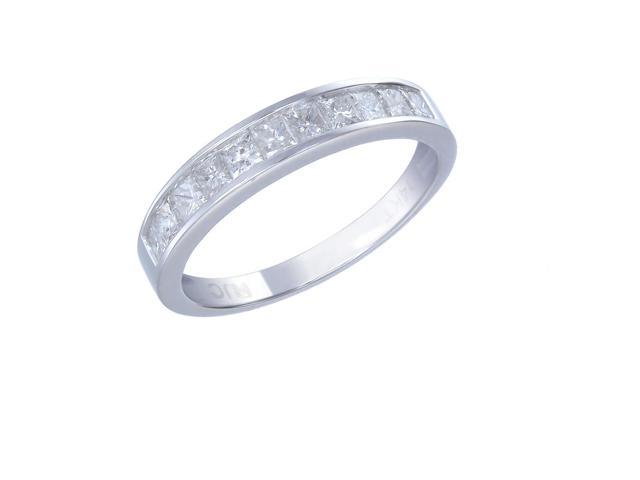 14K White Gold Diamond Wedding Band (1 CT ; Princess Cut) In Size 6