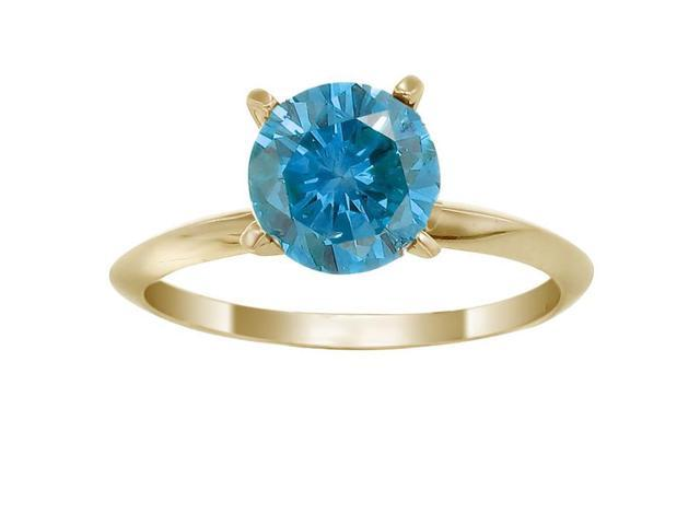 14K Yellow Gold Blue Diamond Solitaire Ring (1.50 CT) In Size 7