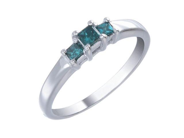 Sterling Silver 3 Stone Blue Diamond Engagement Ring (1/4 CT) In Size 8