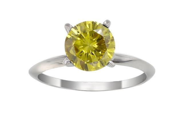 14K White Gold Yellow Diamond Solitaire Ring (1/2 CT) In Size 7