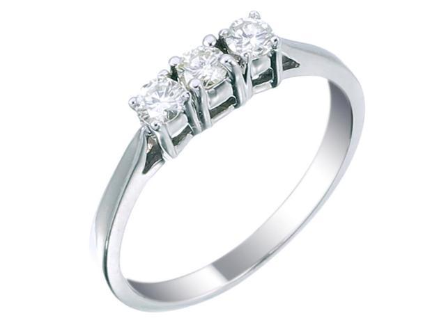14K White Gold 3 Stone Diamond Ring (1/2 CT) In Size 5