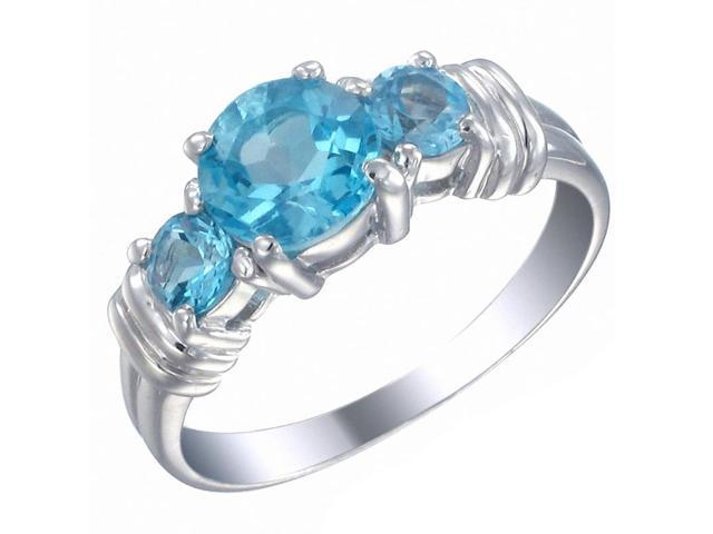 Sterling Silver 3 Stone Swiss Blue Topaz Ring (1.70 CT) In Size 9